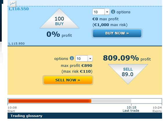 Binary 0-100 offers profits even up to 1000%