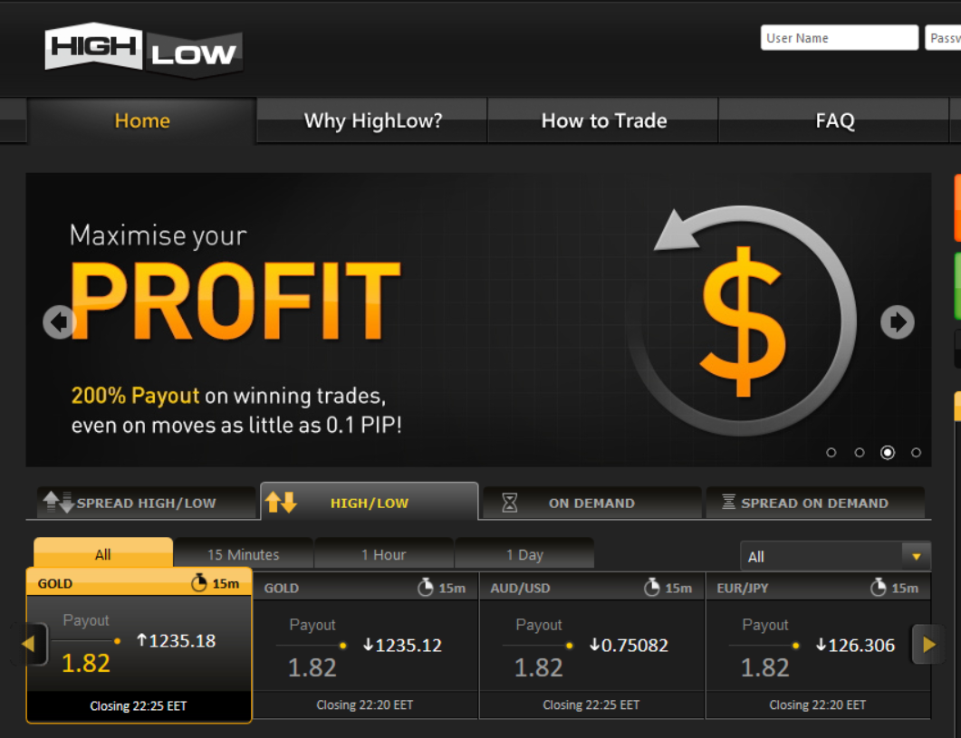 highlow main page