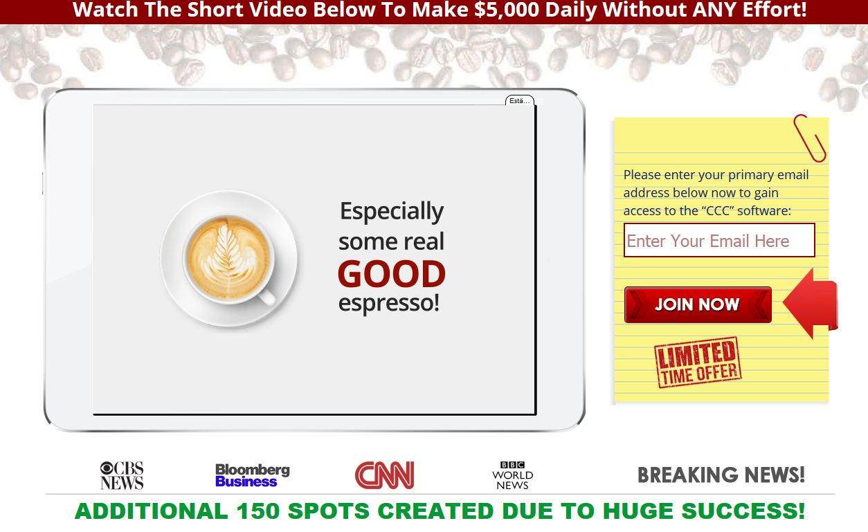 Coffee Cash Main Page