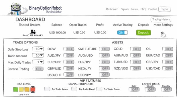 binary option robot dashboard is easy to use