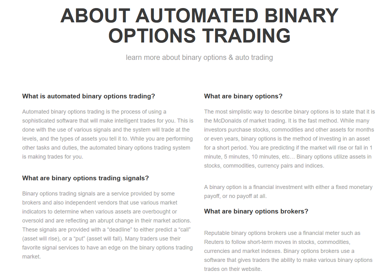 Automated binary options trading reviews