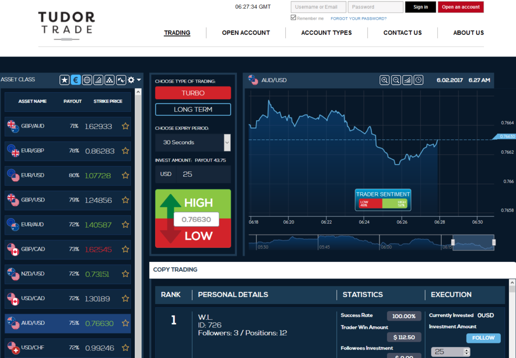 Tudor Trade Main Page View